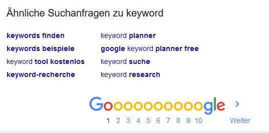 Google suggest untere seite der Google Suchee
