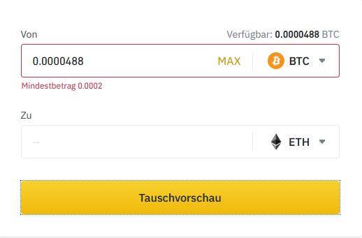Bitcoin in Ethereum tauschen auf Binance