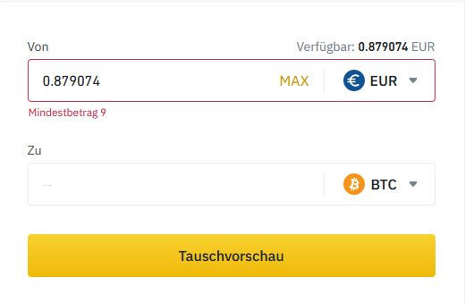 Eur in Bitcoin tauschen Binance