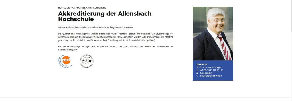 Allensbach Hochschule Akkreditierung