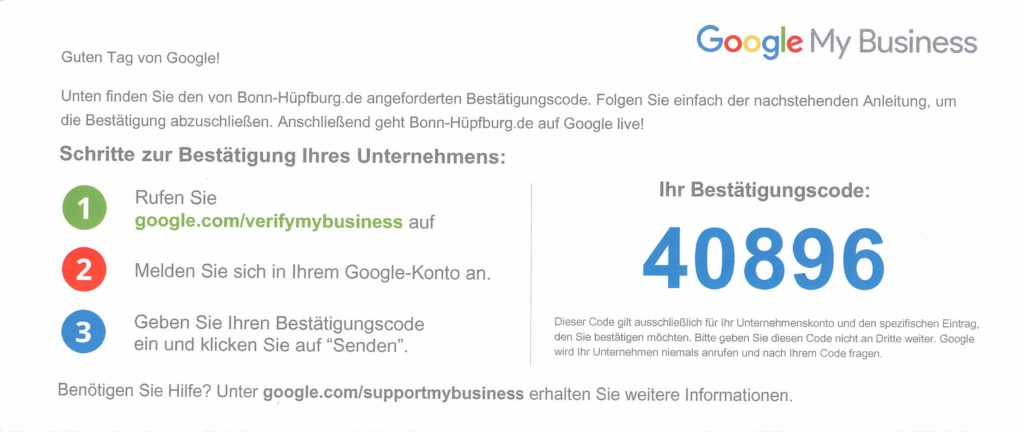 Google my business Verifizierungscode